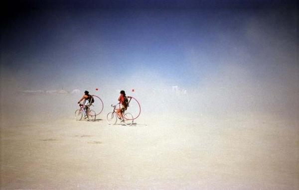 Cycling through a dust cloud